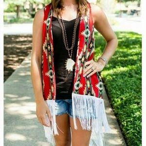 Red Aztec Kimono Vest With Fringe